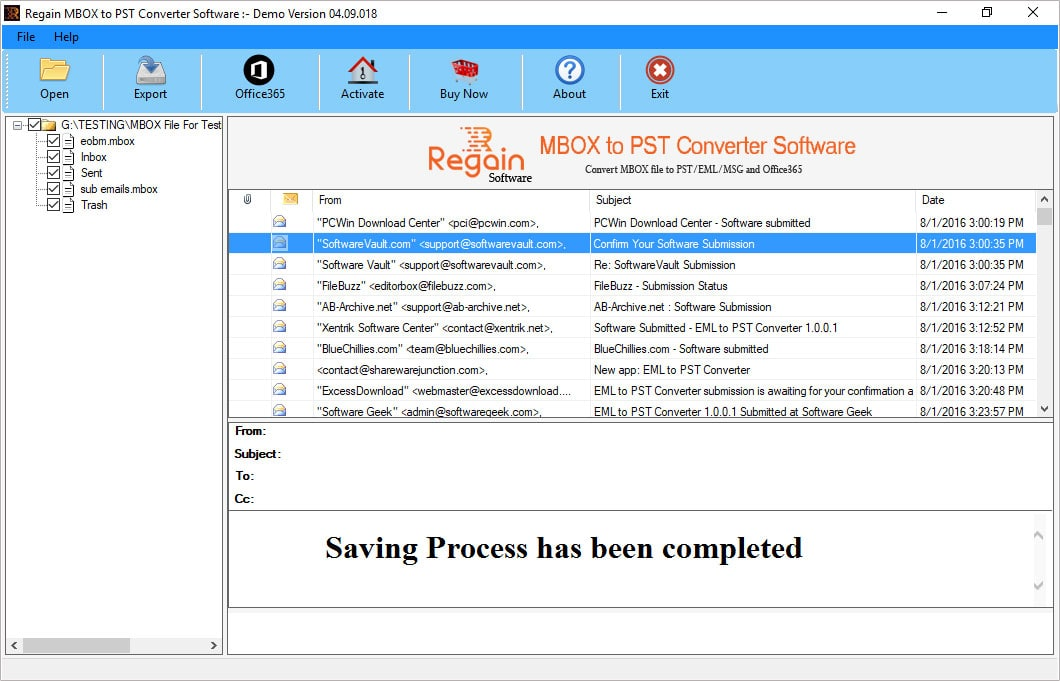 exprot mbox folders to pst